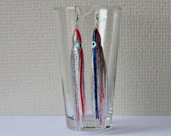 Silver octopus earrings with pink and blue stripes