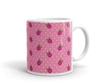 Rose Mug Pink With Yellow Polka Dots Ceramic Coffee Mug Kitchen Home Decor Mother's Day Gift For Her Birthday Collector Mug