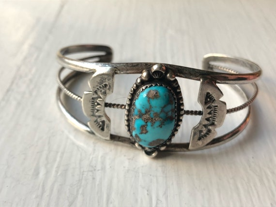 Jerry Roan Sterling Silver Cuff with Turquoise