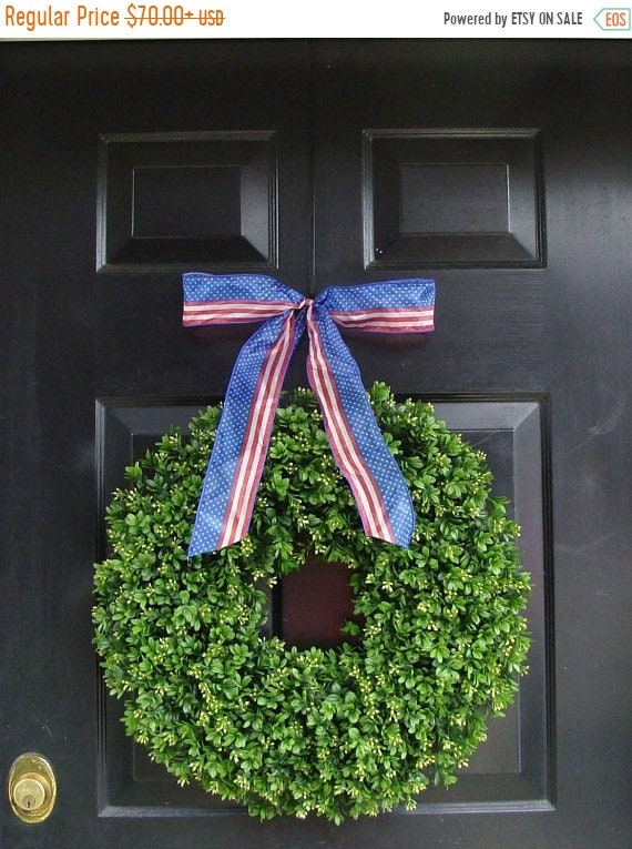 SPRING WREATH SALE Patriotic Wreath- July 4th Wreath- Memorial Day Wreath- Fourth of July Decor- Made in the Usa- Americana Wreath