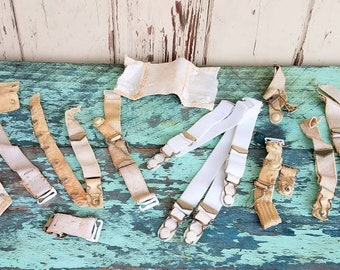 Vintage Garter Stocking Clips + Lingerie Hooks - Antique Bra Hooks, Bra Extender, Stocking Accessories, Sewing Notions, Old Lingerie Hooks
