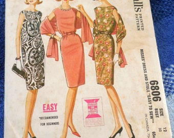 McCall's 6806 - Straight 60s Mod Dress with Bateau Neckline - Easy To Sew - Beginner - Vintage Pattern - Size 12 (Bust 32) - Stole Too!