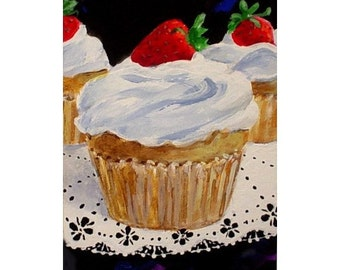 Original Painting * STRAWBERRY GLOW Cupcake * Dessert Series * ACEO Small Art Format by Rodriguez