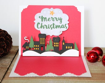 Handmade Pop Up Christmas Card, Merry Christmas, Green White Red, Wreath, Christmas Village, One of a Kind, Blank Inside