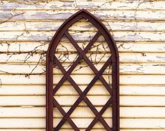 Mini Trellis Cathedral Window Frame Art |Metal|Rustic|Reclaimed Wood|Wood Sign|Farmhouse|Vintage|Wood|Antique|Shabby Chic|Primitive|Shutters