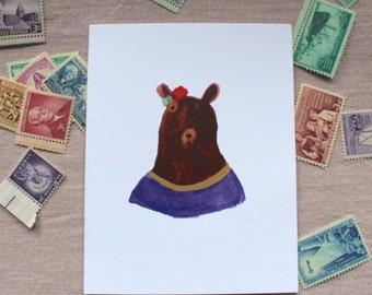 Watercolor Lady  Bear Card