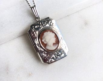 Vintage Sterling Silver Cameo Locket Pendant Necklace