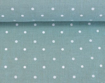 Softened linen fabric by the meter, organic flax fabric, polka dot, mint color linen fabric, white dots linen fabric by the yard 200 gsm