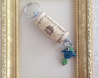 Repurposed Green And Blue Rhinestone Fish Koi Charm Cork Keychain by K'nique Jewelry