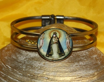 Caridad del cobre Our Lady of Charity Clear Glass Cuff Photo bracelet