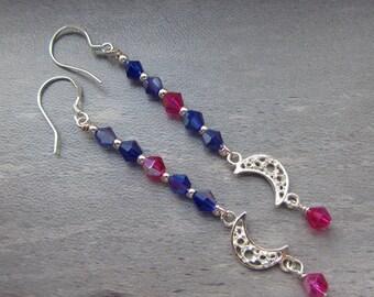 Glass Crystal Dangle Earrings Dangling Moon Earrings Sterling Silver Dangle Drop Earrings Handmade USA SRAJD