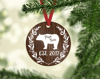 papa bear / Christmas ornament / mama bear / baby bear / Christmas / beat ornament / bear / papa bear ornament / custom ornament / new dad
