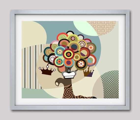 Abstract Tree Painting, Tree of Life Painting Wall Decor, Abstract art Print, Abstract Wall Art, Cubist Painting