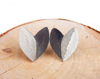 Heart-Leaves Oxidized Earrings - Sterling Silver Stud Earrings - Nature Inspired Jewelry - Perfect Gift For Her
