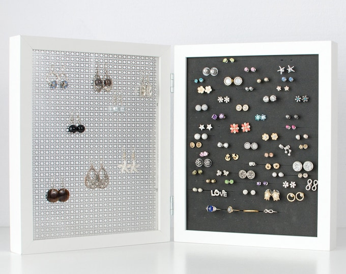 Earring Organizer - White Double Frames - 8x10 Size - Hook & Stud Earring Holder