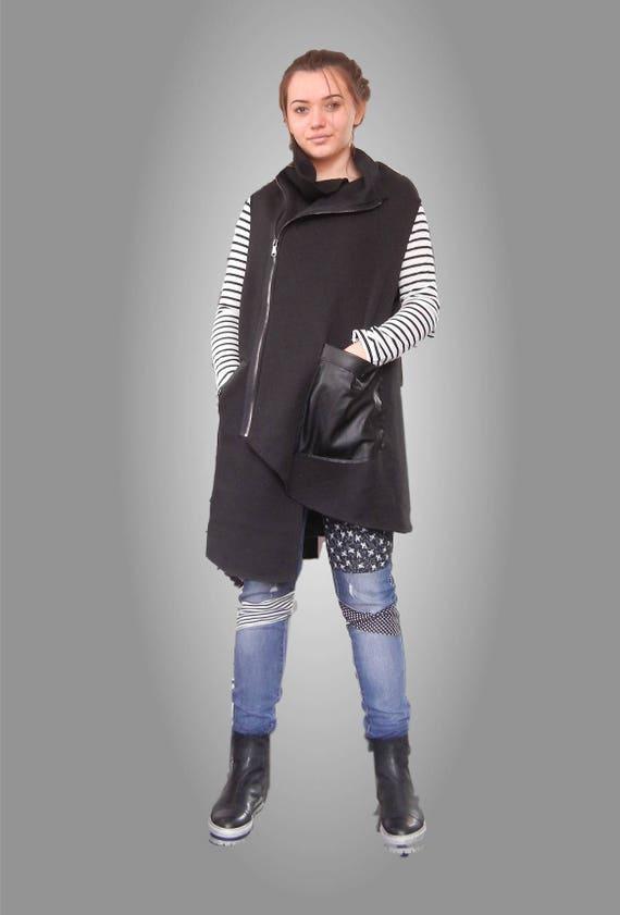 Flattering Black Loose Vest, Street Casual Oversized Sleeveless Coat, Asymmetric Eco Leather Turtle Neck Vest, Edgy Plus Size Vest