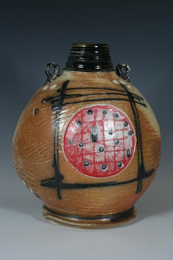 Handmade Ceramic Red Dots Bottle