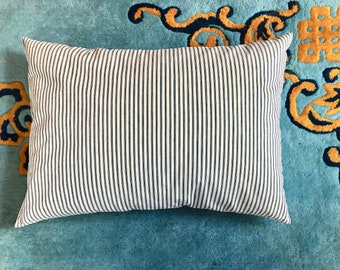 Feather Down Pillow, Original Ticking, Vintage, Clean.