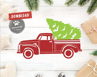 Christmas Truck SVG | Truck With Tree SVG | Christmas SVG | Pickup Truck with Christmas Tree Svg Holiday Svg Dxf Cut File Christmas Clipart