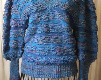 Vintage 1981 Teal Knit Long Sleeve Sweater with Iridescent Muticolored Yarn and Nubby Textured Loops sz M by P.S.E. Pacific Sweater Exchange