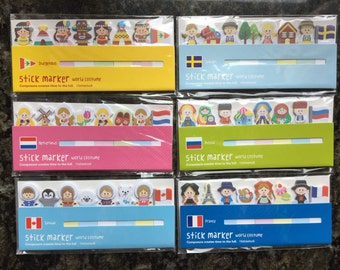 World costume memo,Netherland,Sweden,Canada,France,Russia,memo sticker,sticky notes,post-its,stationery,memo pad