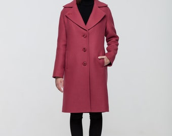 Winter woolen coat semifitted coat pink limited colour