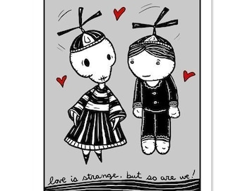 Love is Strange - GingerDead Goth /Alt Greeting Cards - Valentine / Love / Friendship - Single Card w/ Envelope
