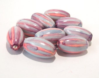 NOW ON SALE Polymer Clay Pink and Blue Oval Beads - Handmade