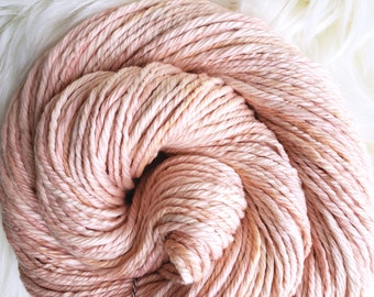 Naturally Dyed Cotton, Bulky Yarn, Madder Root Botanical Dye, Peach Pink, Vegan Yarn