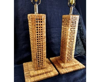 Wicker Lamp Pair, Woven Rattan, Skyscraper Style Mid Century, Tall Lamps,  Wood