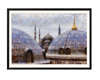 Printable Wall Art Digital Painting Blue Mosque Aya Sofia Istanbul Sultan Ahmet Instant Download Poster JPEG Print