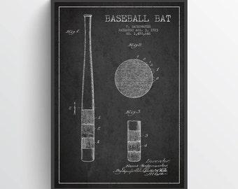 1923 Baseball Bat Patent Wall Art Poster, Baseball Print, Baseball Art Print, Baseball Decor, Home Decor, Gift Idea, SPBA06P