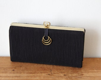 Black Pintuck Faille Clutch / Vintage Black Box Evening Bag / Small Formal Black Fabric Structured Clutch 110417-22