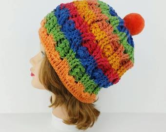 PomPom Beanie Hat, Crochet Hat, Women's Hat With PomPom, Ski Hat, Women's PomPom Hat in Tutti Frutti, Winter Hats For Women, Women's Beanie