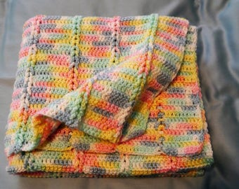 NEW Hand Made Crocheted Baby Blanket Afghan Multi Colored Pink Blue Yellow Green...