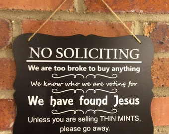 No Soliciting Sign in Trendy Chalkboard Style | Unless You're Selling Thin Mints!!
