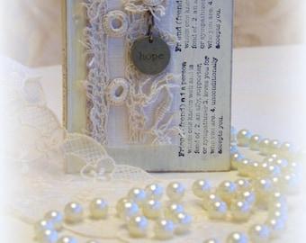 Mini blank book, journal, friendship gift, romantic gift, HOPE charm