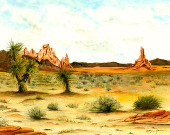 Desert Southwest Landscape Painting, Print from Original Watercolor Painting 10.25x14.25 Monument Valley