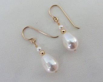 14k Gold Filled Pearl Earrings, Pearl Wedding Jewelry, Bride, Bridesmaid Earrings, Swarovski Teardrop Pearls, June Birthstone Earrings