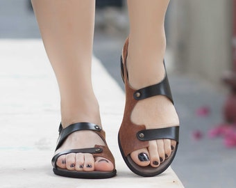 Leather Sandals, Printed Leather Sandals, Summer Shoes, Flat Shoes, Camel, Free Shipping