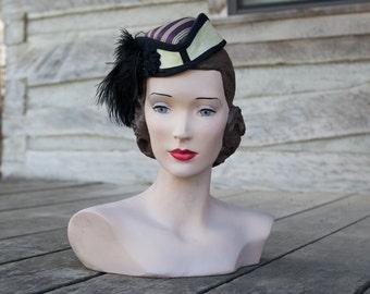 Civil War hat | 1860s riding hat | striped maroon silk black trim | Civil War reenacting riding hat | purple / yellow striped hat bonnet