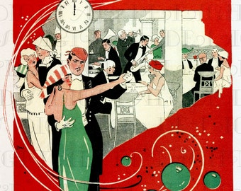 Fantastic Art Deco New Year's Eve PARTY! Vintage Digital New Year Download Illustration. 1920s Deco Digital New Year Download. Invites!