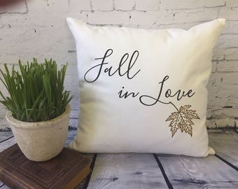 fall decorative throw pillow cover/leaf pillow/ fall in love/ fall wedding/ fall engagement