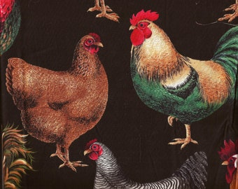 Large Hen Rooster Chicken Print Cotton Fabric / Hi-Fashion Fabrics / 22 inches