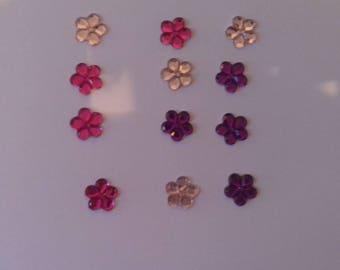 Set of 12 flowers, pink, purple