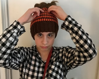 Browns Orange Crochet Messy Bun Beanie