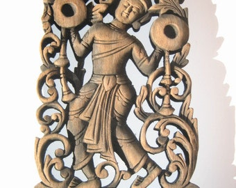 Hand Carved Wooden Thai Dancer Panel