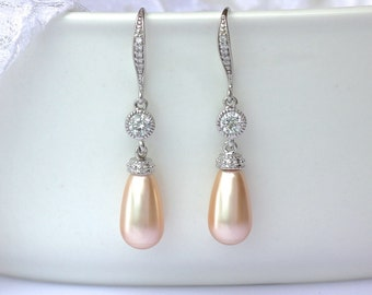 Peach Pearl Drop Earrings, Peach Blush Bridal Earrings, Swarovski Pearl Earrings, Pearl & Crystal Wedding Earrings, AUDREY