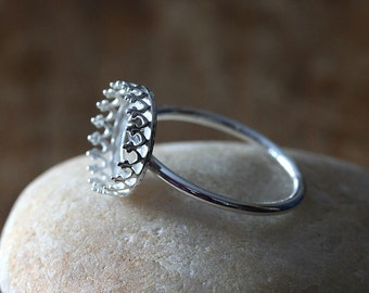 Gallery Bezel Crown Setting Ring • 12 mm Round • Sterling Silver • Ready to be Set with Your Own Stone • Supplies