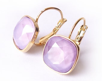 Lilac Light Purple Crystal Drop Earrings made with Cushion Cut Swarovski Rhinestones for Violet Bridesmaid Gift Lavender Wedding Jewelry